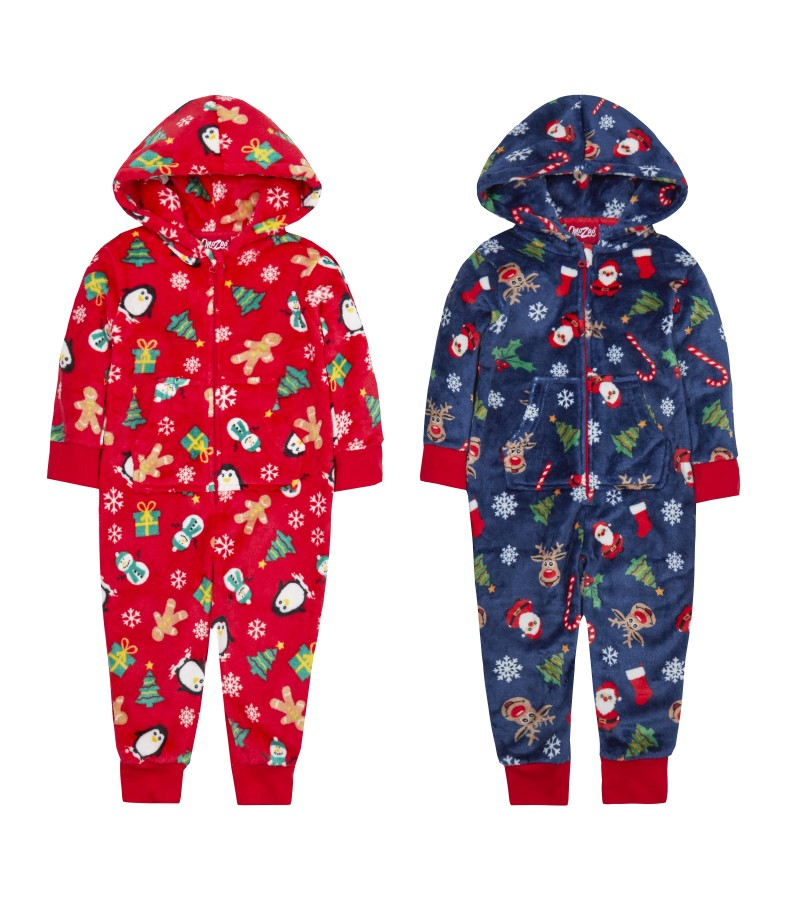 OneZee Girls And Boys Christmas Onesie PACK OF 8