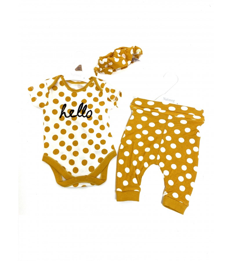 Ex Store 'Hello' Baby Girls 3 Pieces Set PACK OF 8