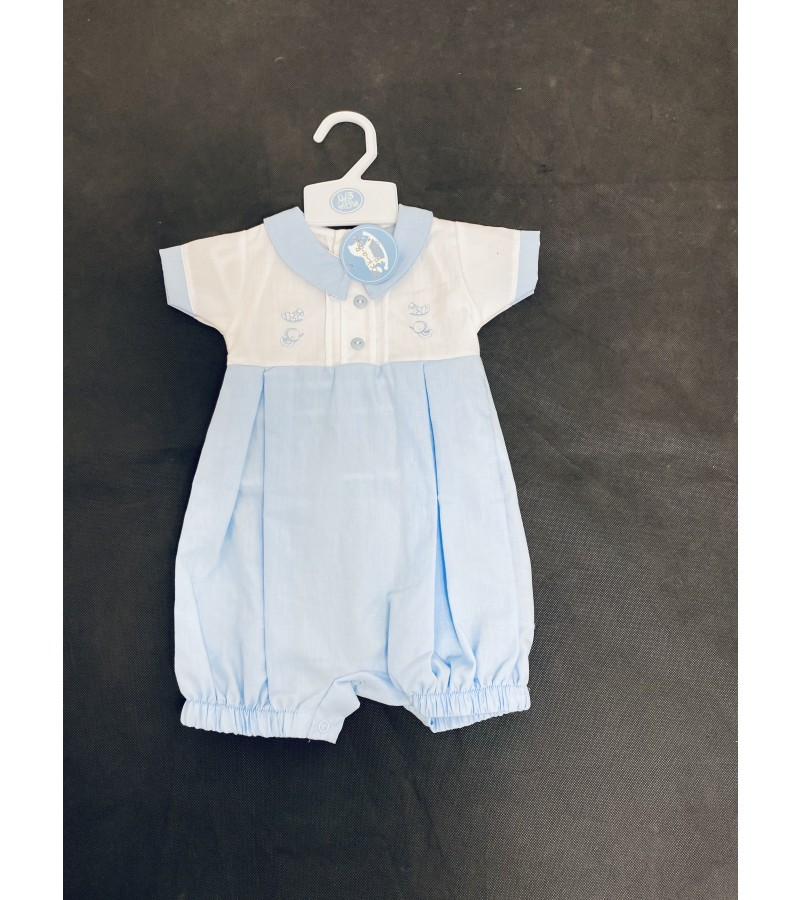 Rock a Bye Baby Baby Boys White/Blue Romper PACK OF 6