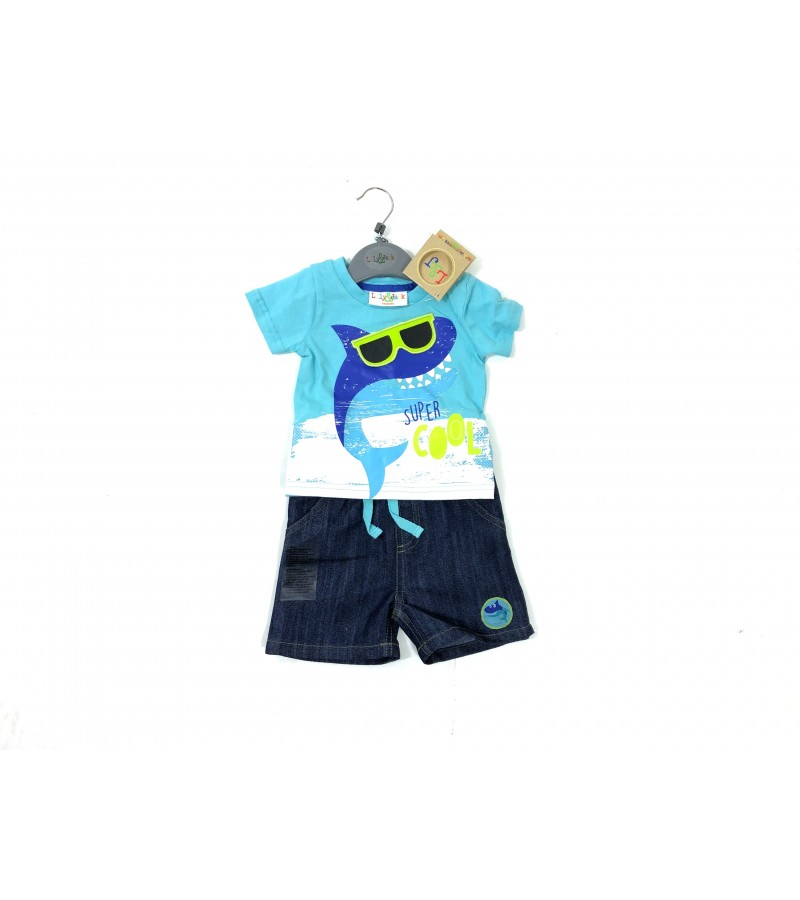 REDUCED PRICE Lily & Jack 'Shark' Baby Boys T Shirt and Denim Shorts Set PACK OF 6