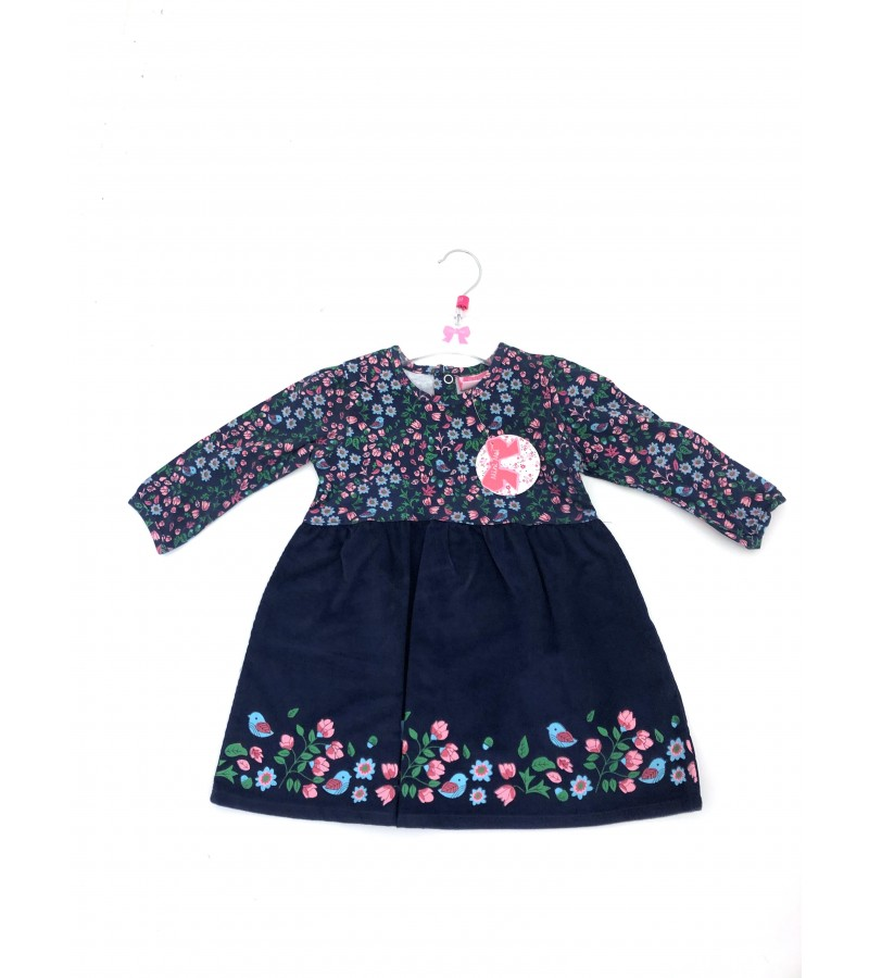 REDUCED PRICE Mini Moi Navy Blue 'Floral'  Baby Girls Dress PACK OF 8