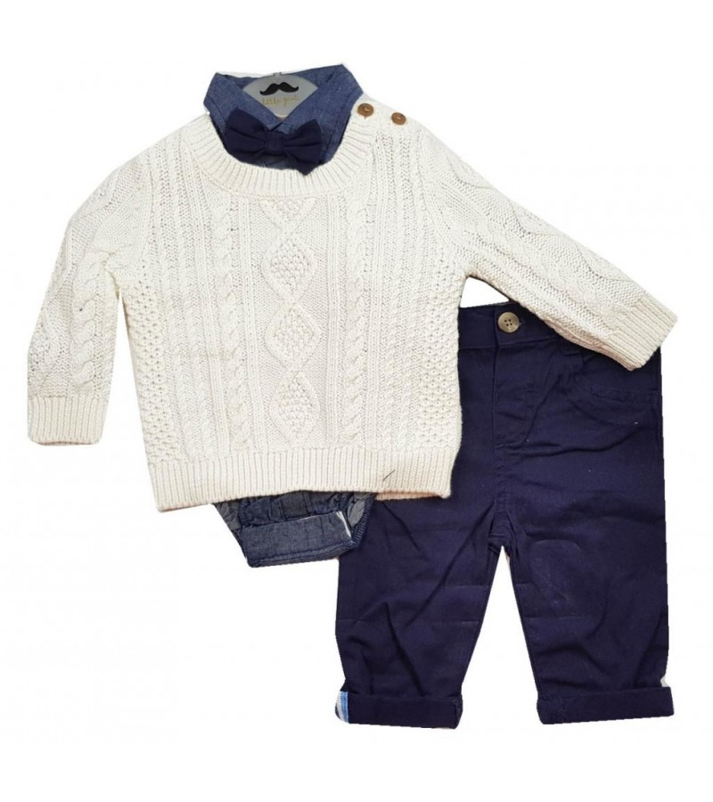 Little Gent Baby Boys Jumper, Bodysuit and Pants Set PACK OF 4