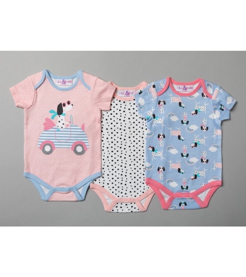 Lily & Jack 3 Pk of Baby Girls Short Sleeved Bodysuits PACK OF 6
