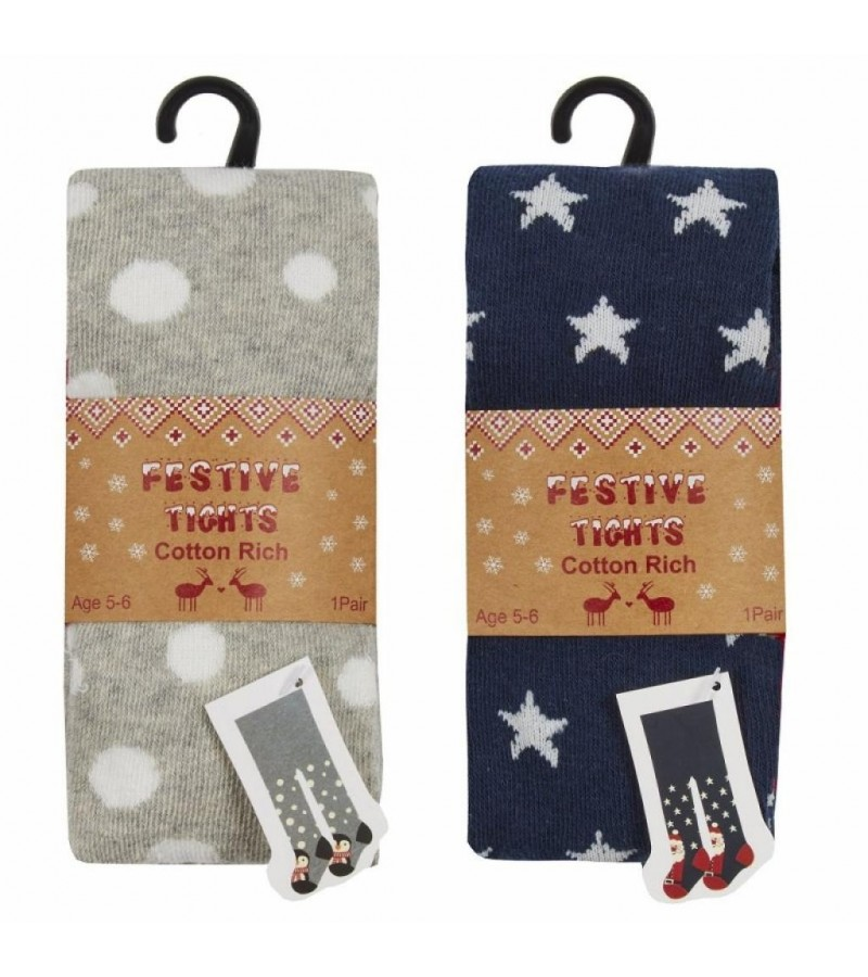 Festive Girls Tights PACK OF 12