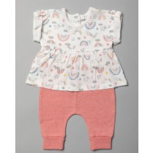 Home Grown Baby Baby Girls Organic Cotton Top and Jogpants Set PACK of 4