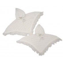 Nursery Time Baby Girls White Poncho PACK OF 6
