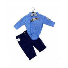 Little Gent Baby Boys Blue Bodysuit and Pants Set PACK OF 4