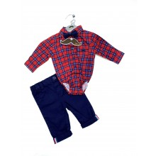 Little Gent Baby Boys Checked Bodysuit and Pants Set PACK OF 4