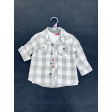 Ex M--e Baby Boys Grey Checked Shirt and T Shirt Set PACK OF 10