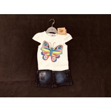 REDUCED PRICE Lily & Jack 'Butterfly' Baby Girls T Shirt and Denim Shorts Set PACK OF 8