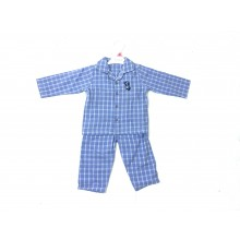 Ex Store Baby Boys Checked Blue Pyjamas PACK OF 10