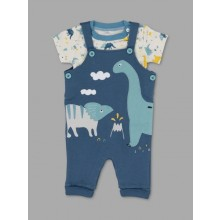 Lily & Jack Green Label  'Dinosaur' Baby Baby Boys Dungaree Set PACK of 4
