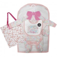 Mini Moi 'Birds' Baby Girls 5 Pieces Gift Set in Net Bag PACK OF 4