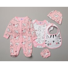 Lily & Jack 'Cat and Unicorn' Baby Girls 5 Piece Set in Net Bag PACK OF 4