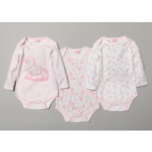 Rock A Bye Baby 3 Pk of Baby Girls Bodysuits PACK OF 6