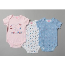Rock a Bye Baby 'Rabit' 3 Pk of Baby Girls Short Sleeved Bodysuits PACK OF 6