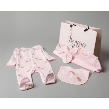 Bonjour Bebe Baby Girls 'Unicorn' 5 Pieces  Set in Net Bag PACK OF 4