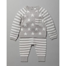 Bonjour Bebe Baby Boys 'Star' Knitted Jumper and Pants Set PACK OF 6