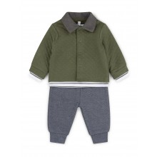 Little Gent Baby Boys Blue Top, pants and Quilted Jacket Set PACK OF 4