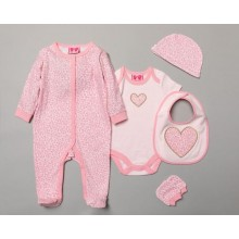 Mini Moi Baby Girls 5 Pieces 'Heart' Gift Set in Net Bag PACK OF 4