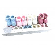 Baby Girls and Boys 'Bow' Knitted Booties PACK OF 10