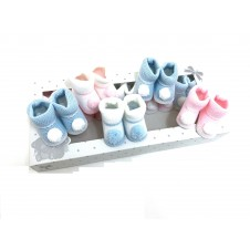 Baby Girls and Boys Pom Pom Knitted Booties PACK OF 10