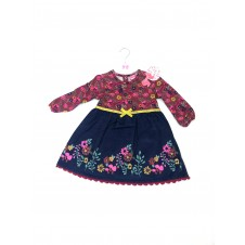 REDUCED PRICE Mini Moi 'Burgundy/Navy Blue Floral'  Baby Girls Dress PACK OF 8