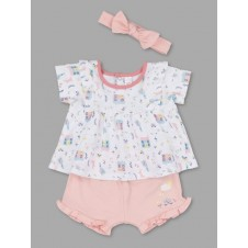 Lily & Jack Green Label Baby Baby Girls Organic Top, Shorts and Headband Set PACK of 4