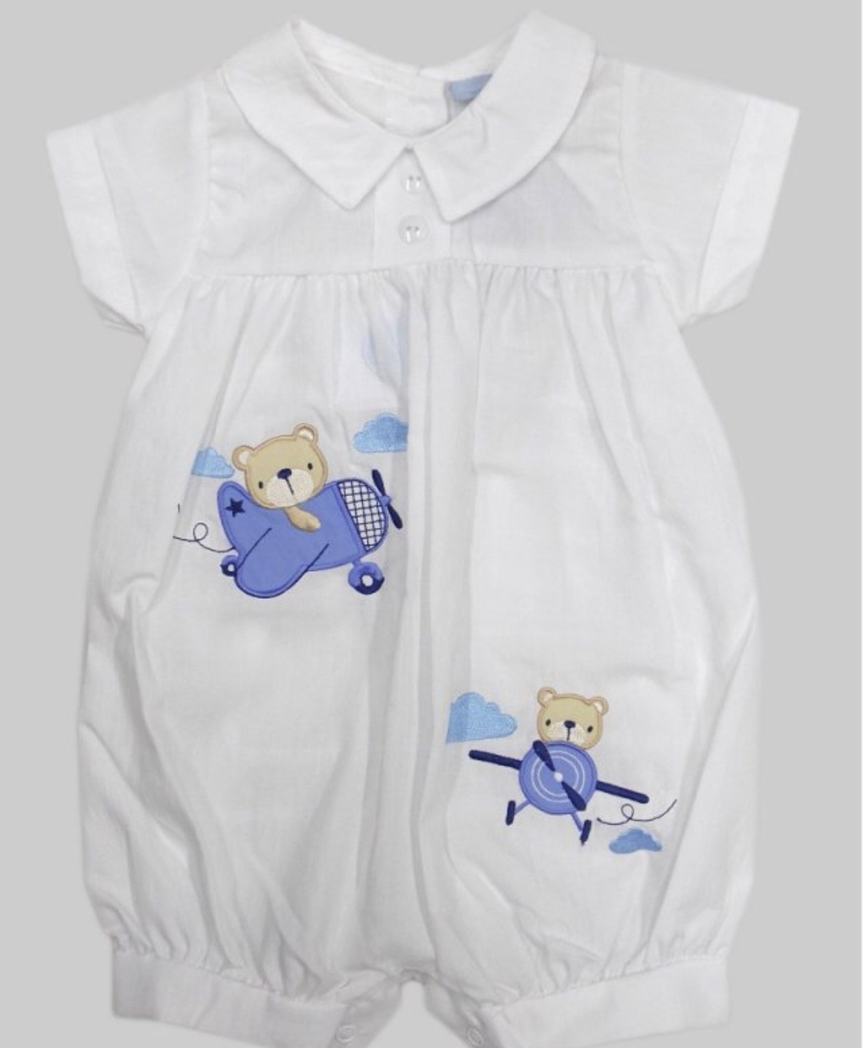 Rock a Bye Baby Baby Boys White and Blue Romper PACK OF 6