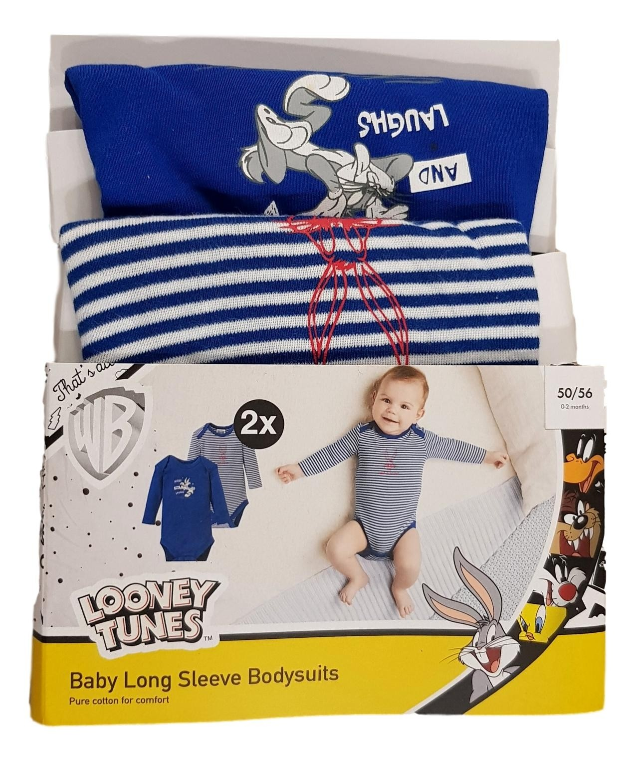 Looney Tunes 'Bugs Bunny' Royal Blue Baby Boys 2 Pack of Bodysuits PACK OF 6