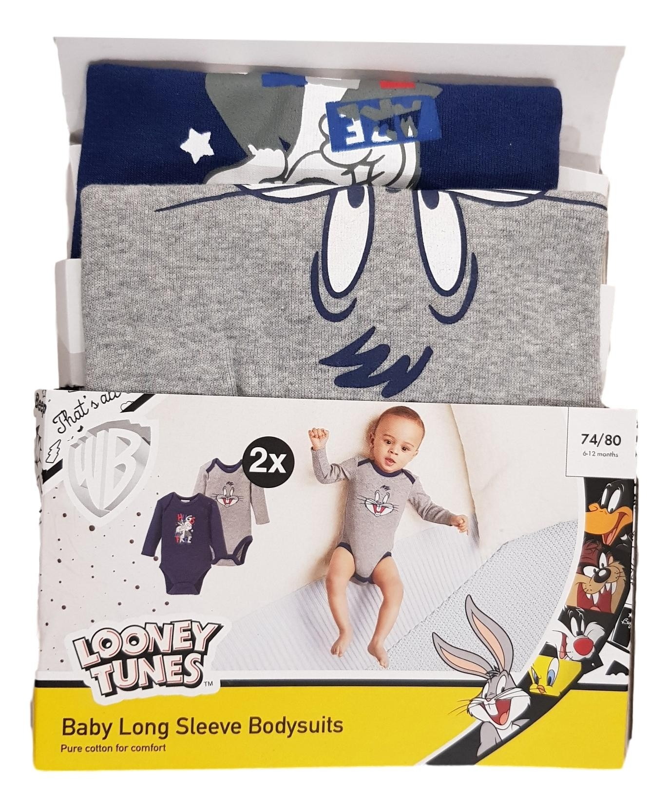 Looney Tunes 'Bugs Bunny' Baby Boys 2 Pack of Bodysuits PACK OF 6