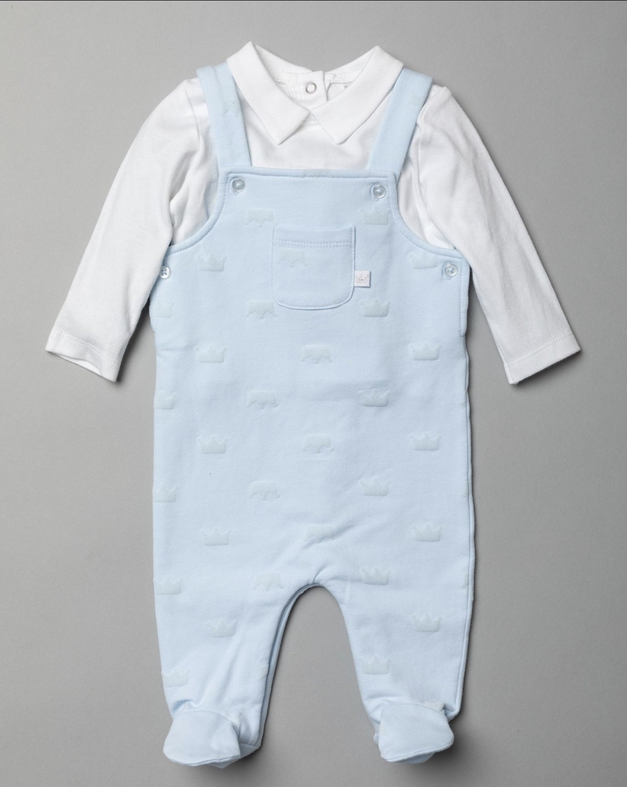 Rock a Bye Baby Boutique 'Crown' Baby Boys Dungaree Set PACK OF 6