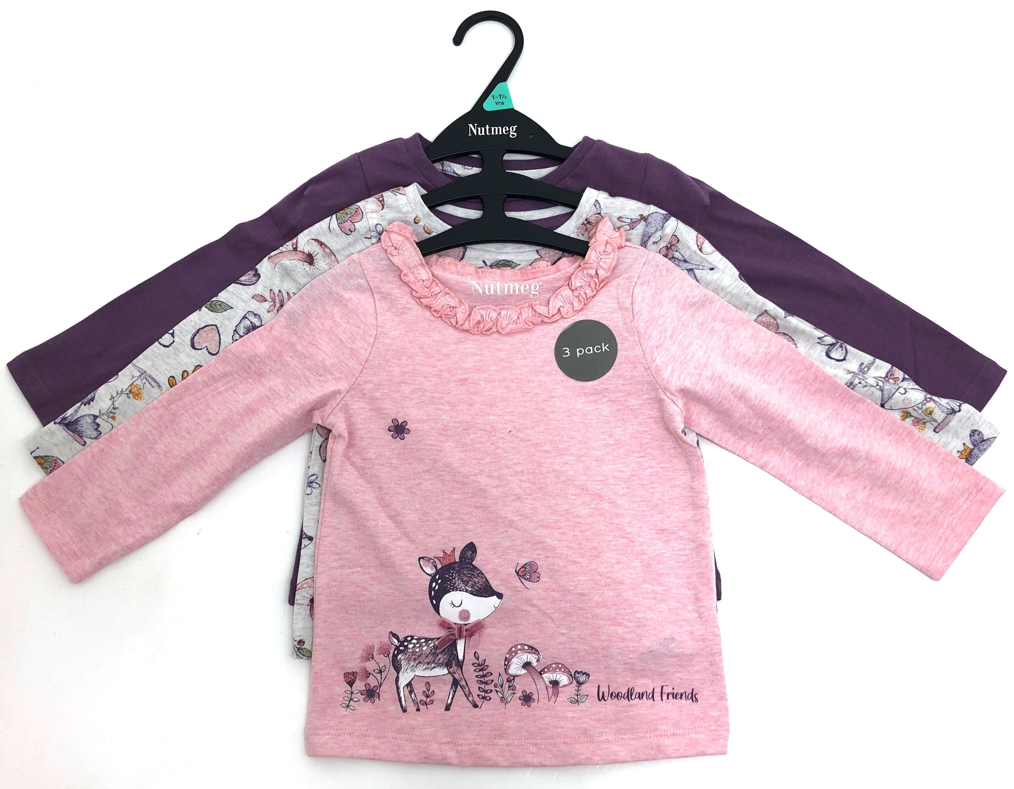 Ex Store Baby Girls 'Woodland' 3 Pack of Tops PACK OF 7