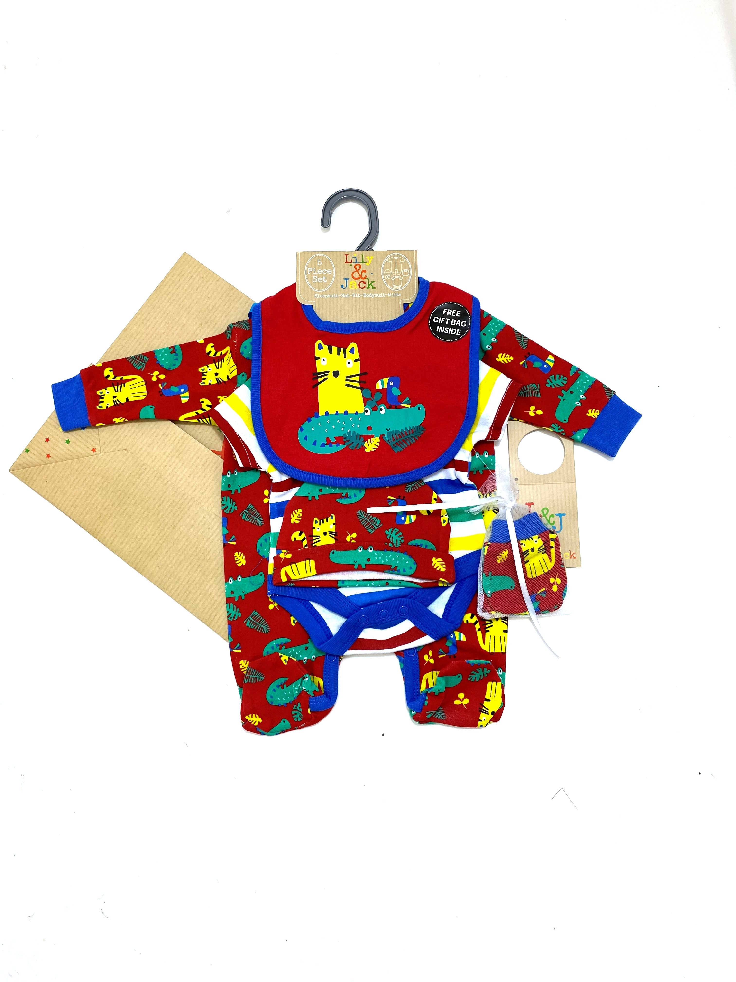 Lily & Jack 'Jungle' Baby Boys 5 Piece Set in Net Bag PACK OF 4