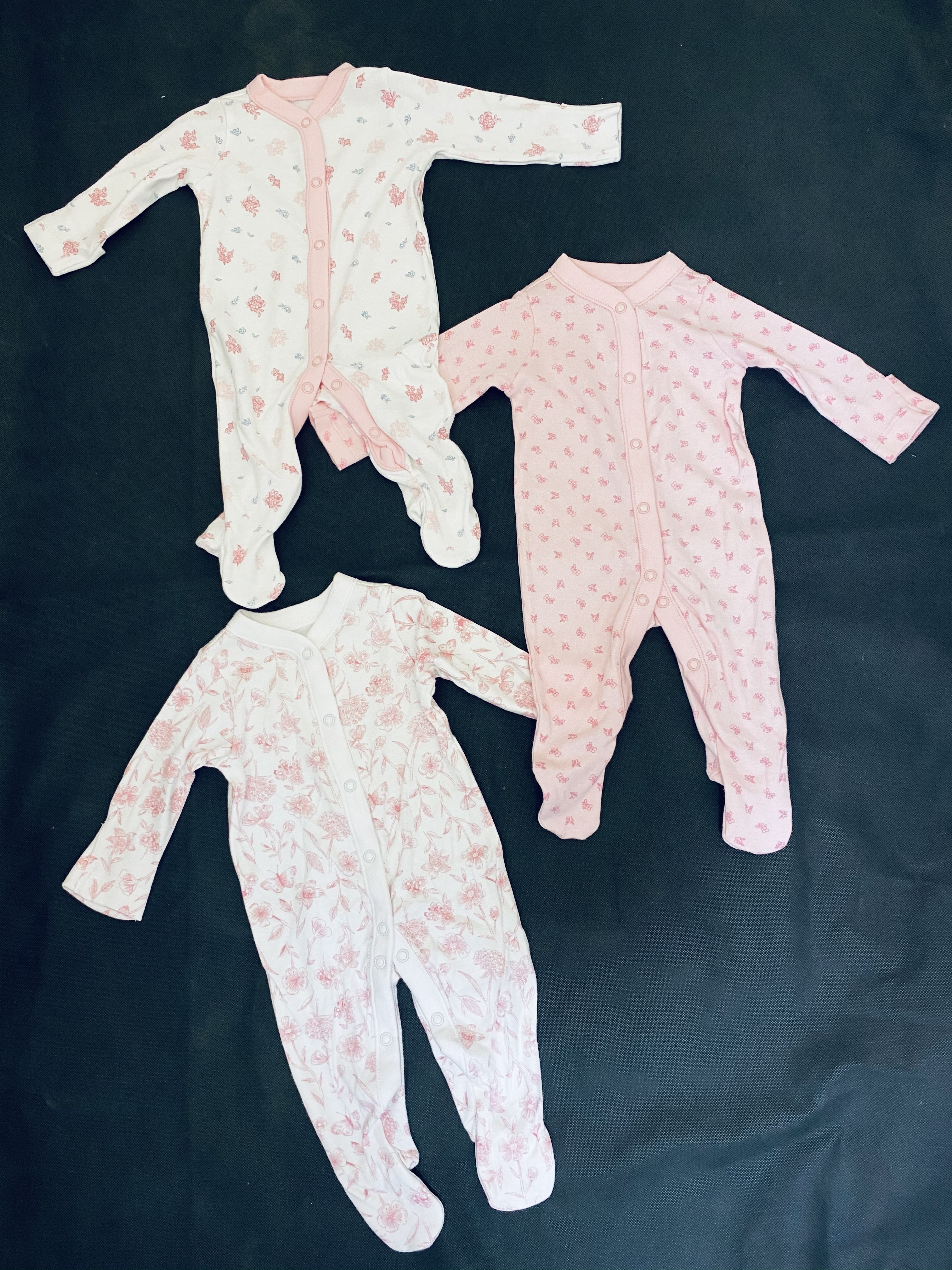 Ex Store 3 Pack of Baby Girls Sleepsuits PACK OF 9