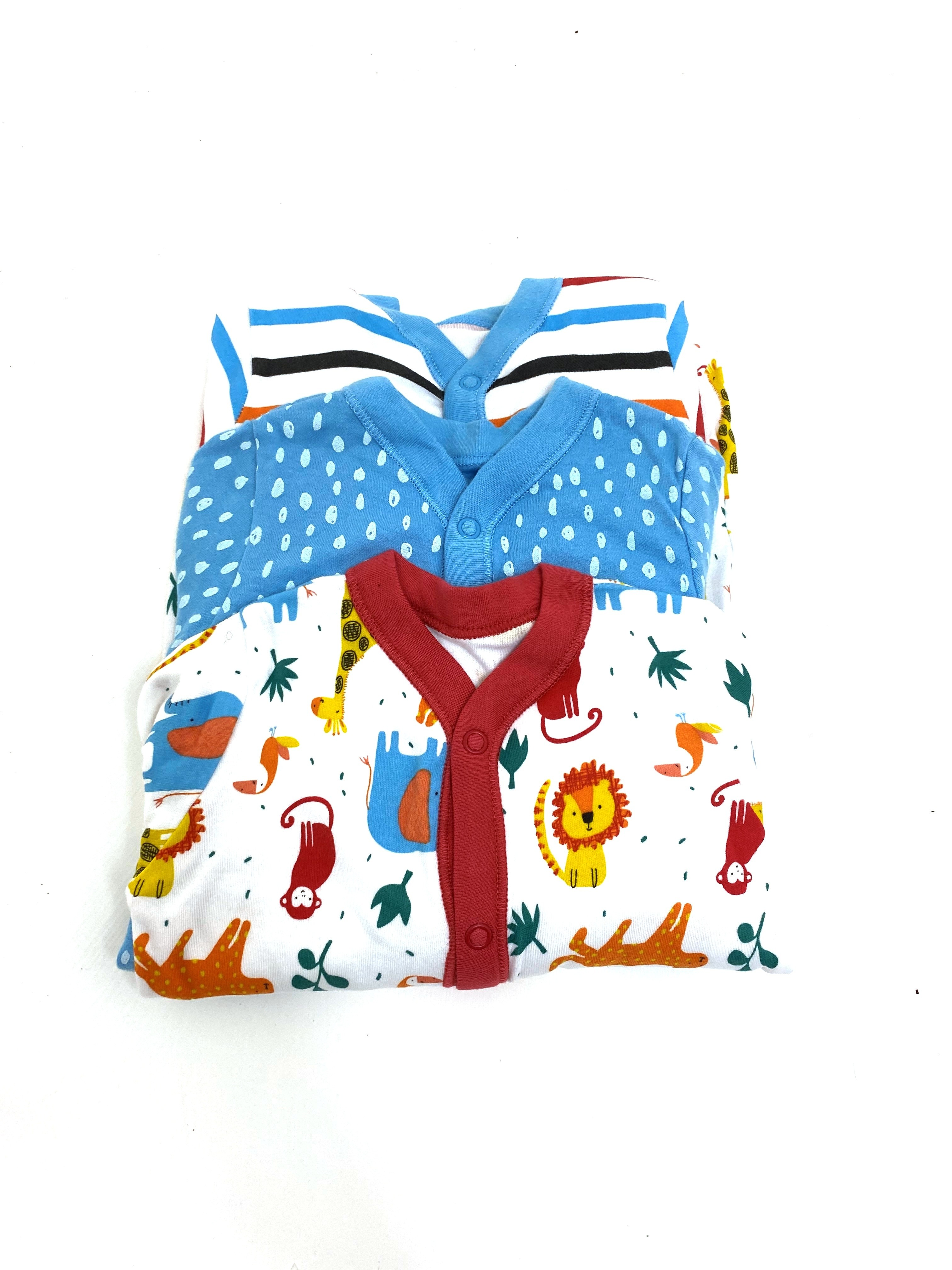 Ex Store Baby Boys 3 Pack of Sleepsuits PACK OF 10
