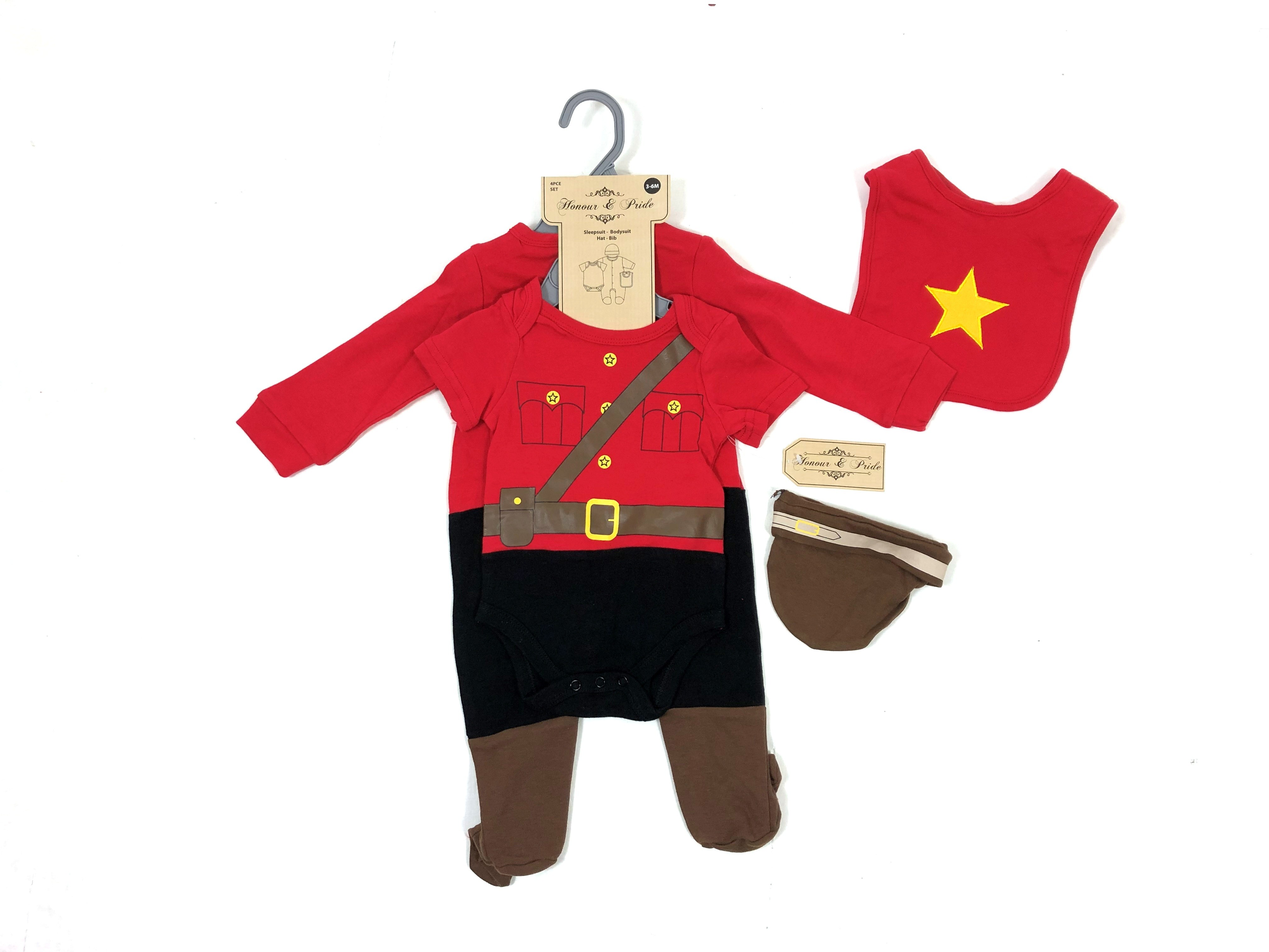 REDUCED PRICE Honour & Pride 'Canadian Mount Police' Baby Boys 4 Pieces Set PACK OF 6