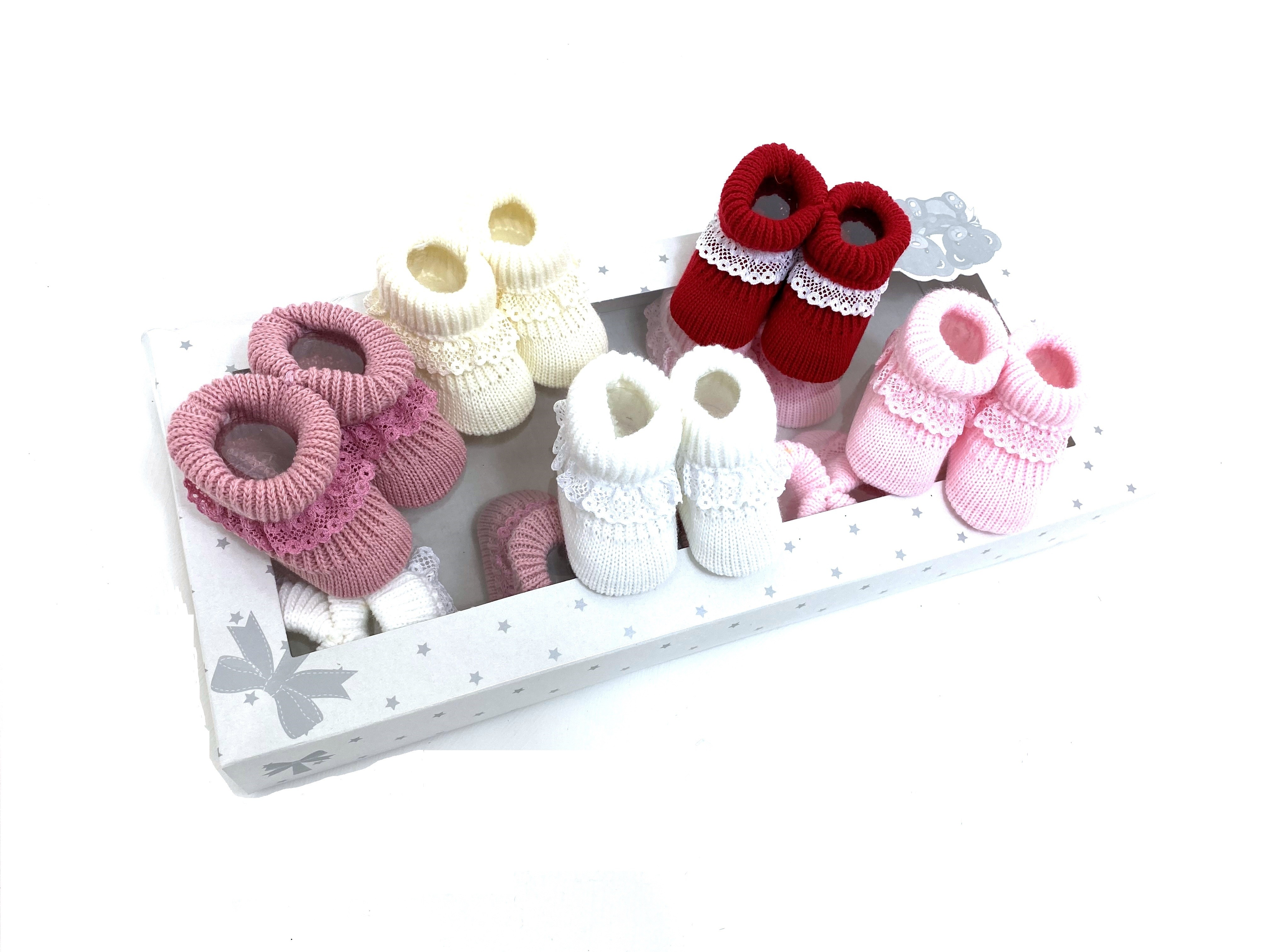 Baby Girls Knitted Booties PACK OF 10