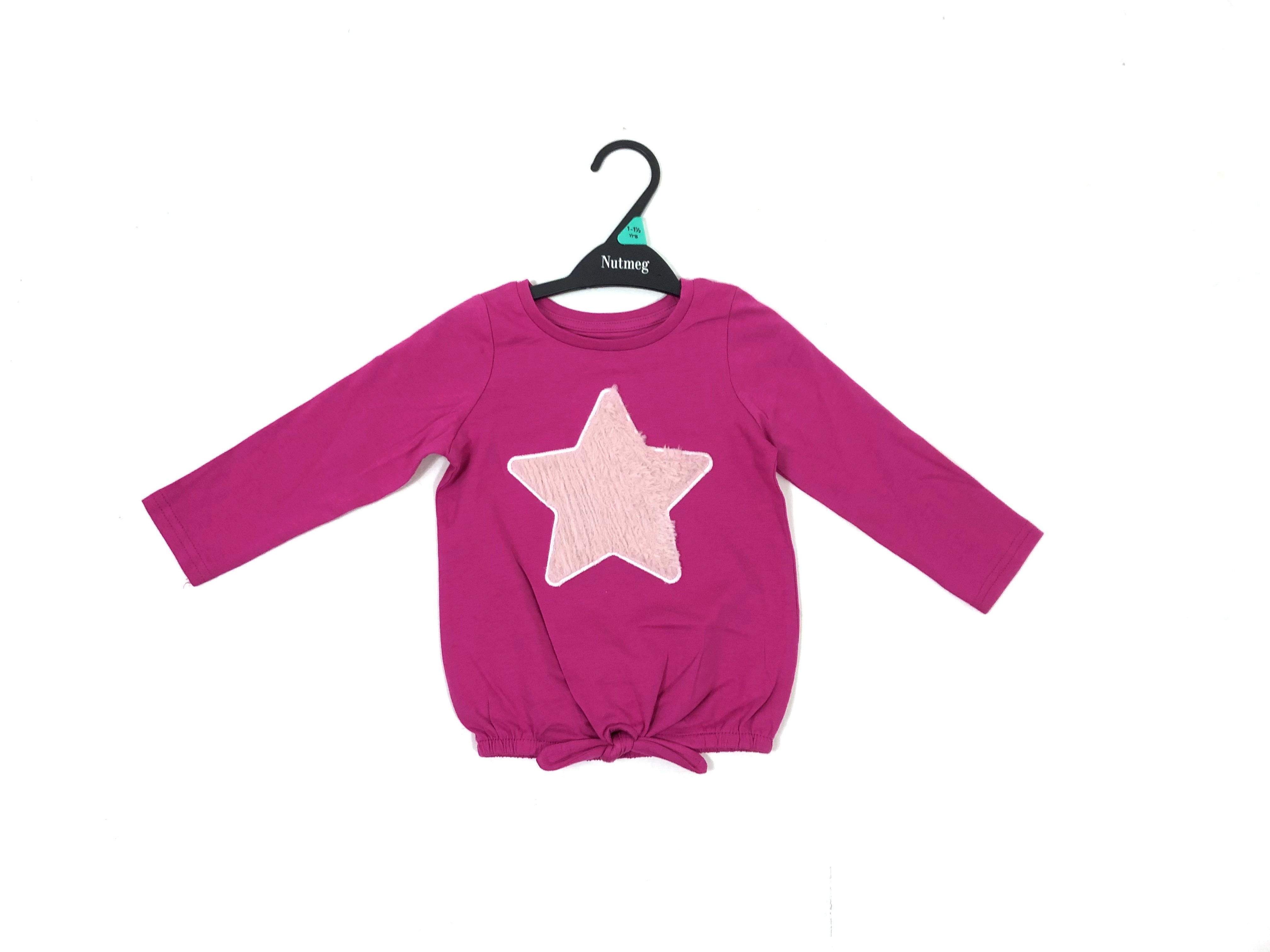 Ex Store 'Fluffy Star' Girls Long Sleeved Top PACK OF 7