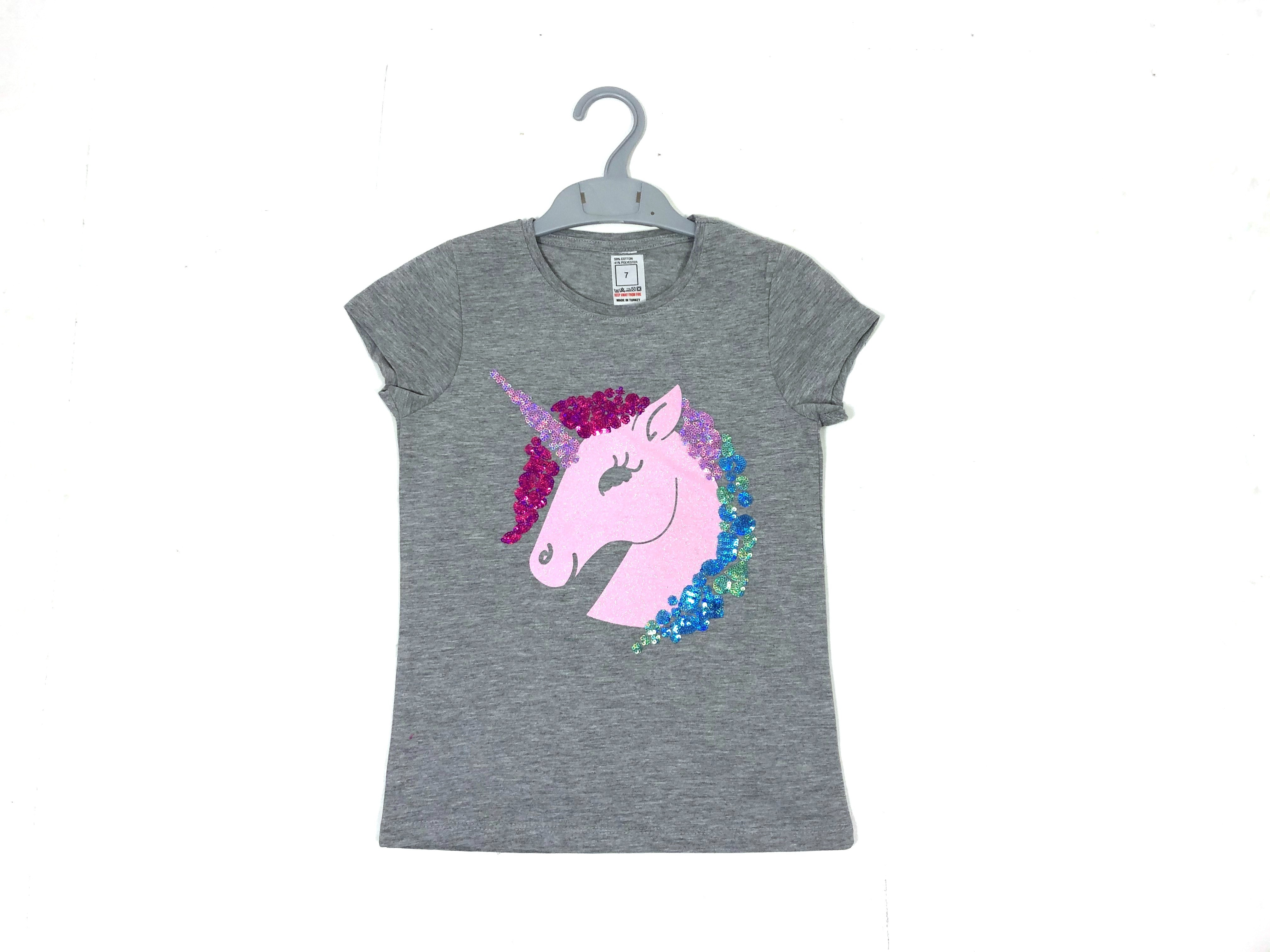 Ex Store 'Unicorn' Girls Grey T Shirt PACK OF 12