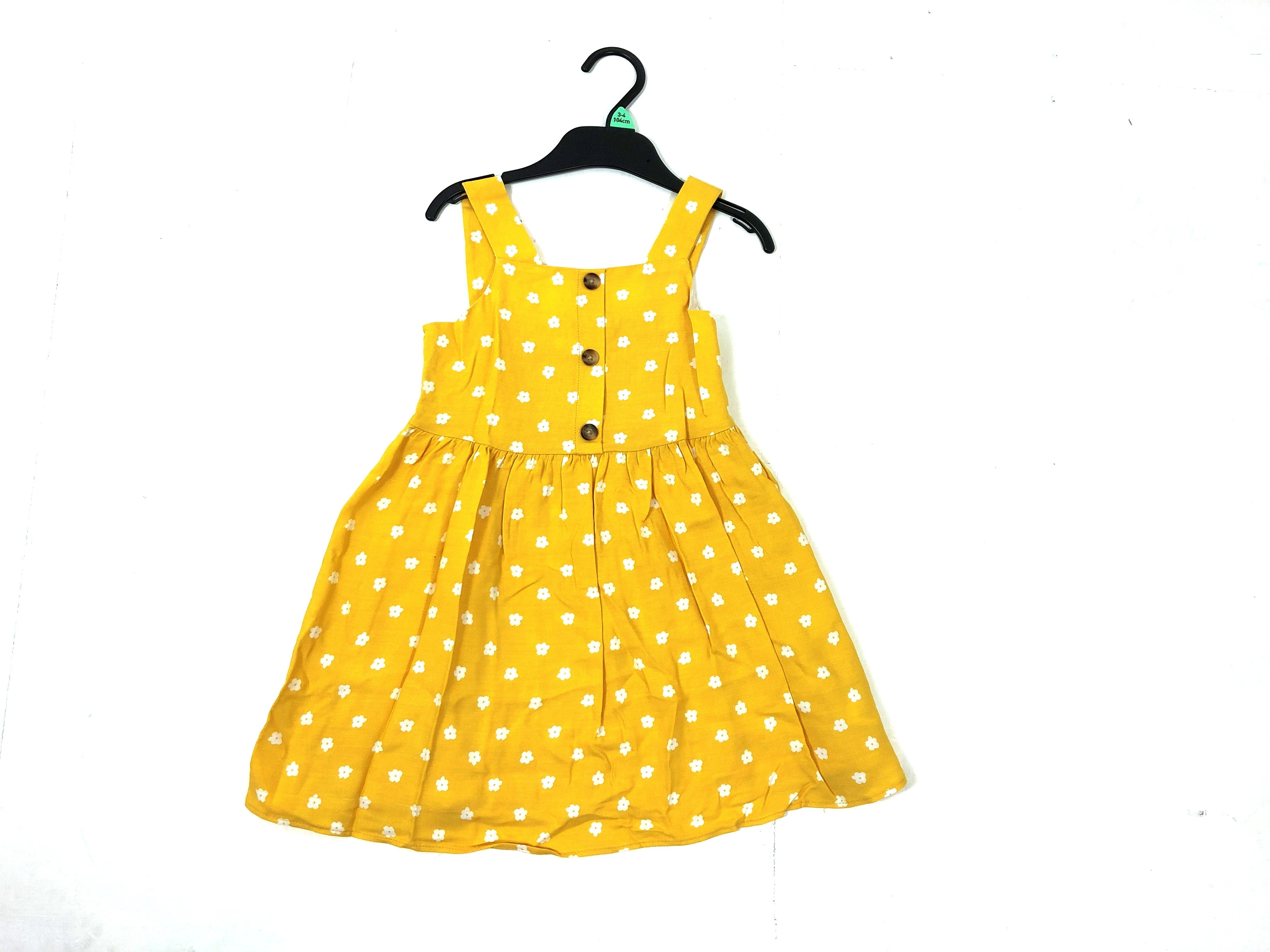 Ex Store 'Floral' Mustard Girls Dress PACK OF 8