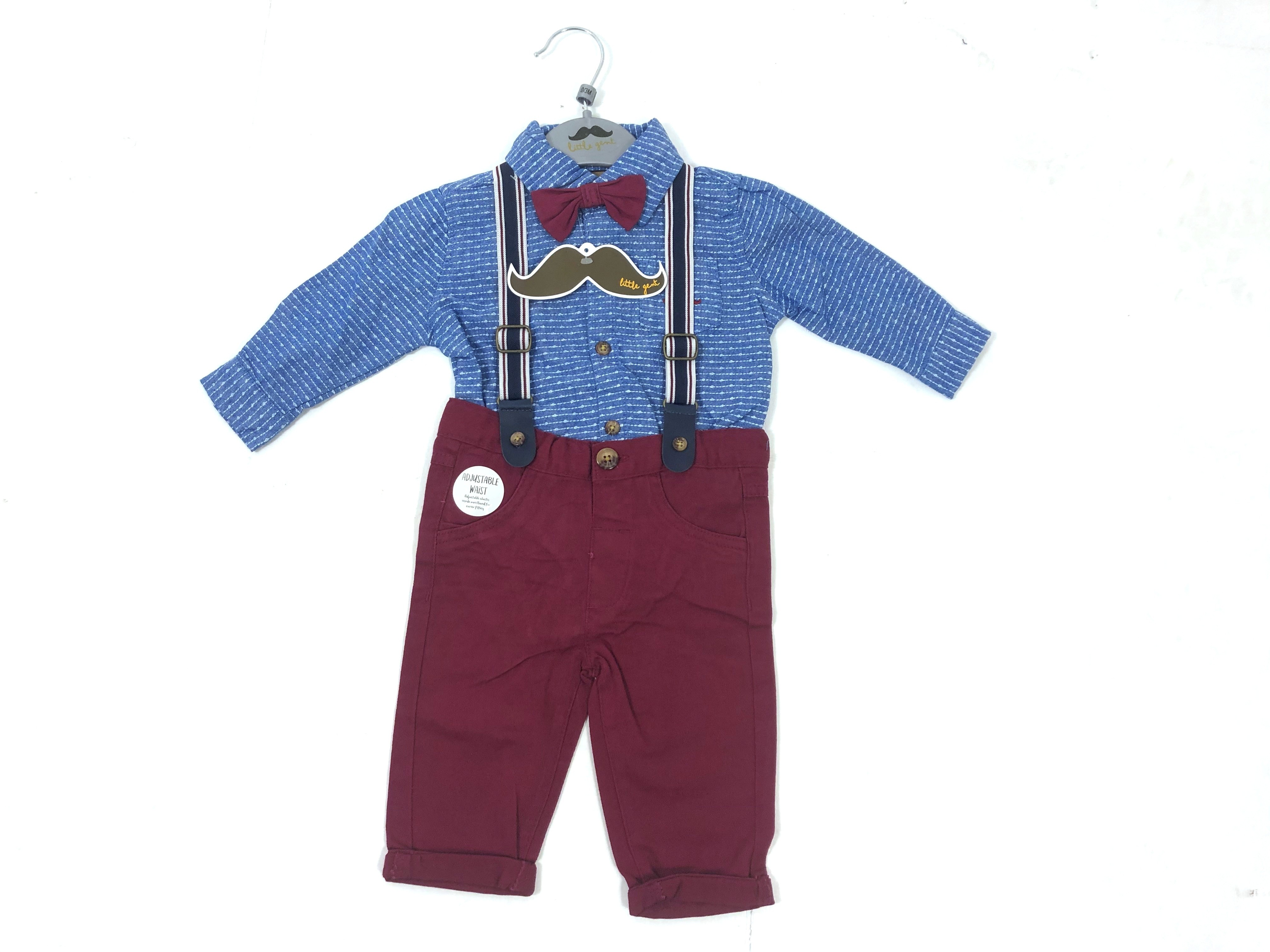 Little Gent Baby Boys Bodysuit and Braces Pants Set PACK OF 4