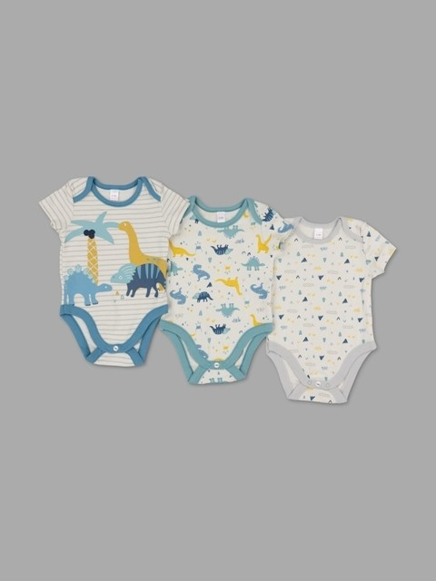 Lily & Jack Green Label 'Dinosaur' Baby Baby Boys 3 Pack of Bodysuits PACK of 6