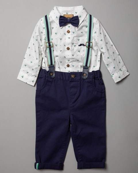 Little Gent Baby Boys Bodysuit, Braces and Pants Set PACK OF 4
