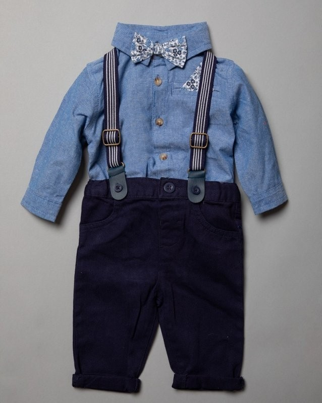 Little Gent Baby Boys Blue Bodysuit, Braces and Pants Set PACK OF 4