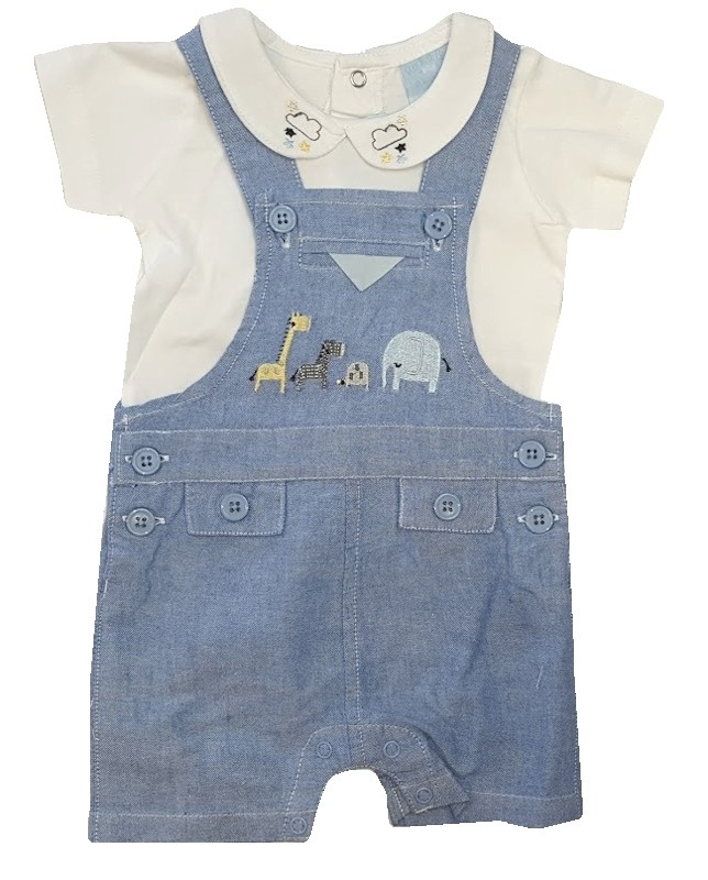 Rock a Bye Baby Baby Boys Chambray Dungaree Set PACK OF 6