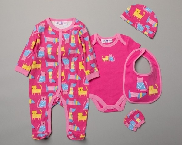 Lily & Jack 'Cat' Baby Girls 5 Piece Set in Net Bag PACK OF 4