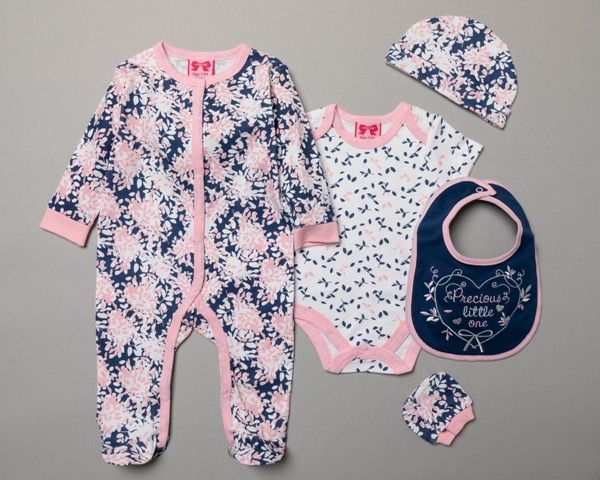 Mini Moi Baby Girls 5 Pieces Gift Set in Net Bag PACK OF 4