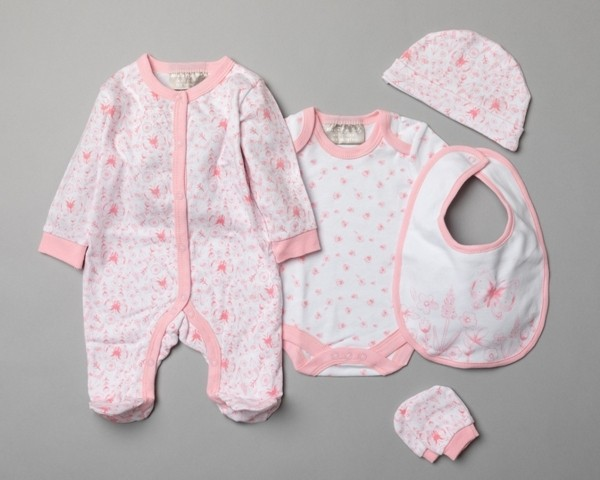 Mini Moi 'Butterfly' Baby Girls 5 Pieces Gift Set in Net Bag PACK OF 4