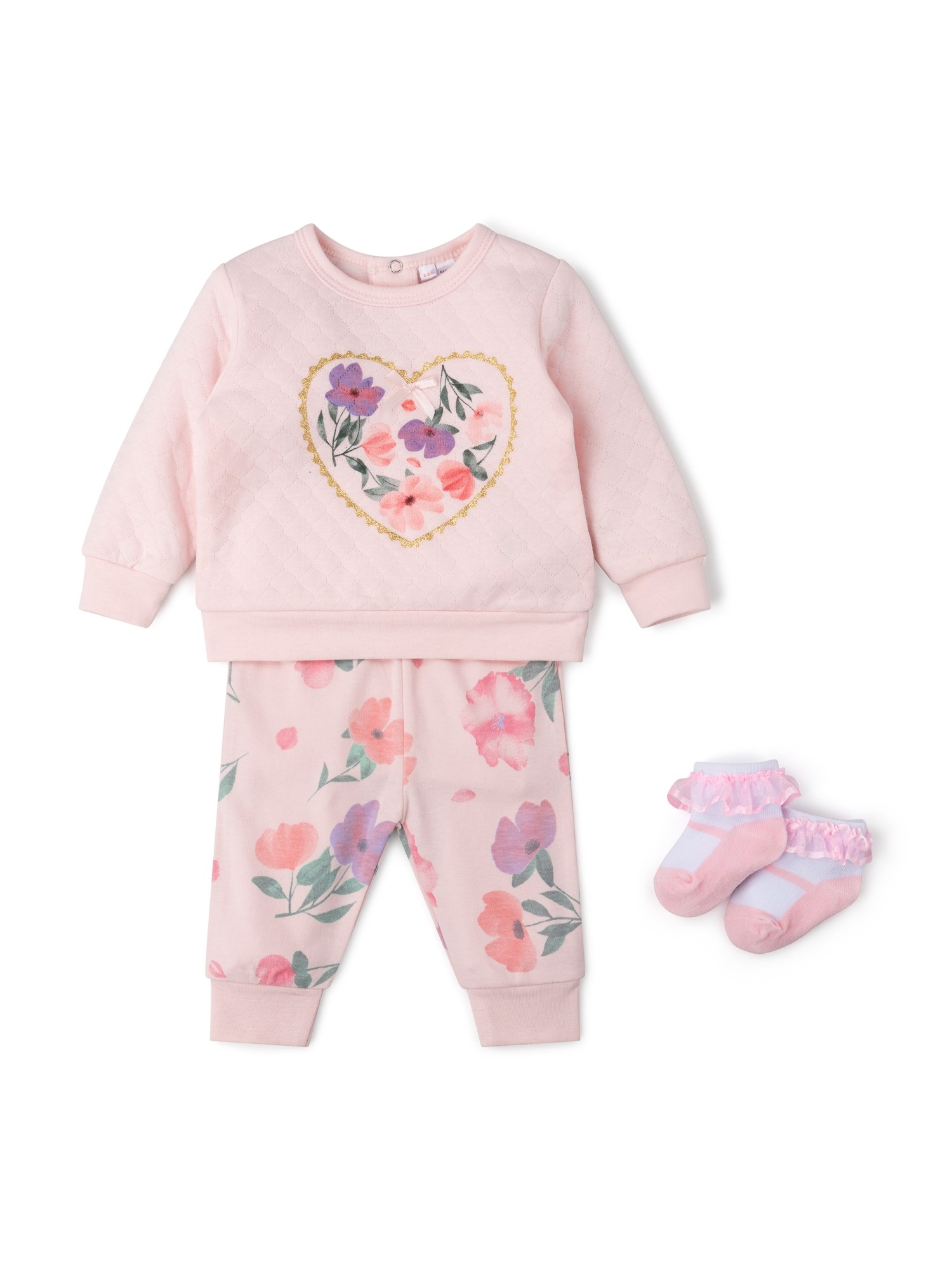 Rock a Bye Baby Baby Girls Quilted Top, Pants and Socks Set  PACK OF 6